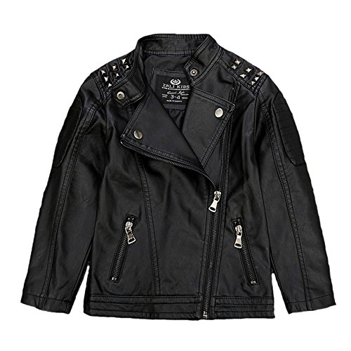 Uwback Children's Leather Jackets Studded Boys Girls Motorcycle Black CN 100