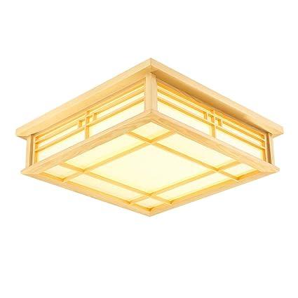 YAYONG Luz de Techo Lámparas de Madera Maciza Led Lámpara ...