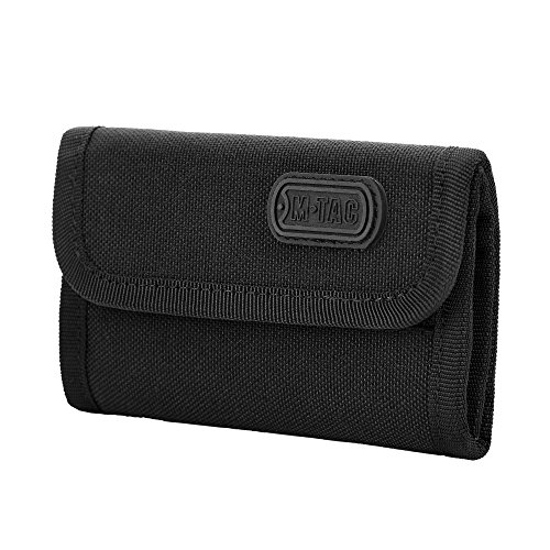 M-Tac Elite Tactical Wallet Army Trifold Nylon with hook & loop closure (Black)