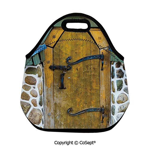 Waterproof Lunch Bags,Antique Style Door of a Stone House in the Countryside Entrance Architecture Vintage,for School Travel Picnic Office(11.81x6.29x11.02 inch) Multicolor