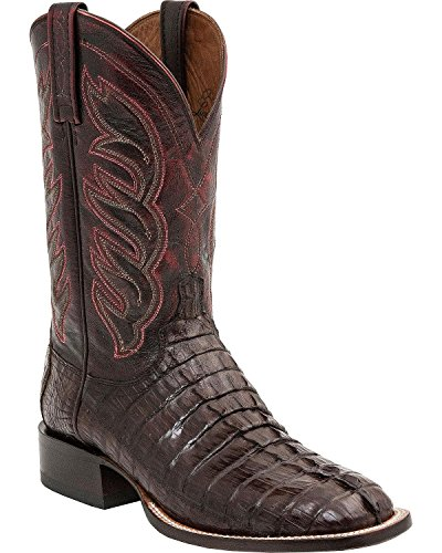 Lucchese Men's 1883 Handmade Landon Hornback Caiman Tail Cowboy Boot Square Toe Barrel BRN 8 EE US