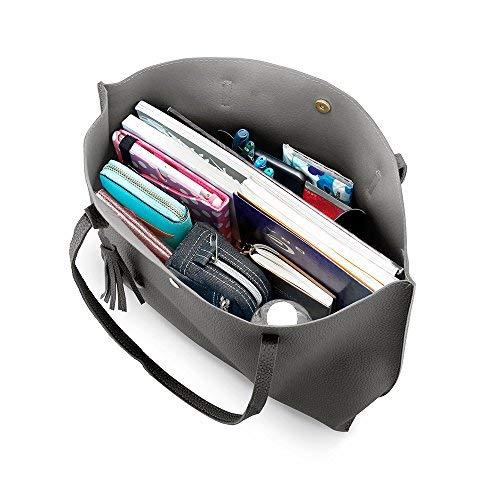 OCT17 Women Tote Bag - Tassels Faux Leather Shoulder Handbags, Fashion Ladies Purses Satchel Messenger Bags (Dark Gray) by OCT17 (Image #7)