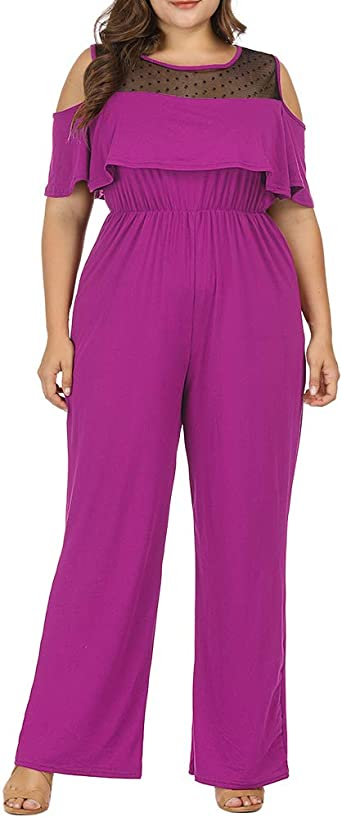 Plus Size Women Cold Shoulder Jumpsuit Wide Leg Pants Ladies Romper Trousers