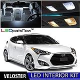LEDpartsNow Hyundai Veloster 2011 - 2016 Xenon White Premium LED Interior Lights Package Kit (8 Pieces) + Install Tool