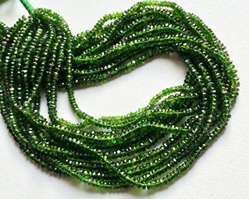 GemAbyss Beads Gemstone 1 Strand Natural Chrome Diopside Beads, Green Tourmaline, Green Diopside Faceted Rondelle, Chrome Diposide Necklace, 3mm - 5mm Beads, 6 Inches Code-MVG-17295
