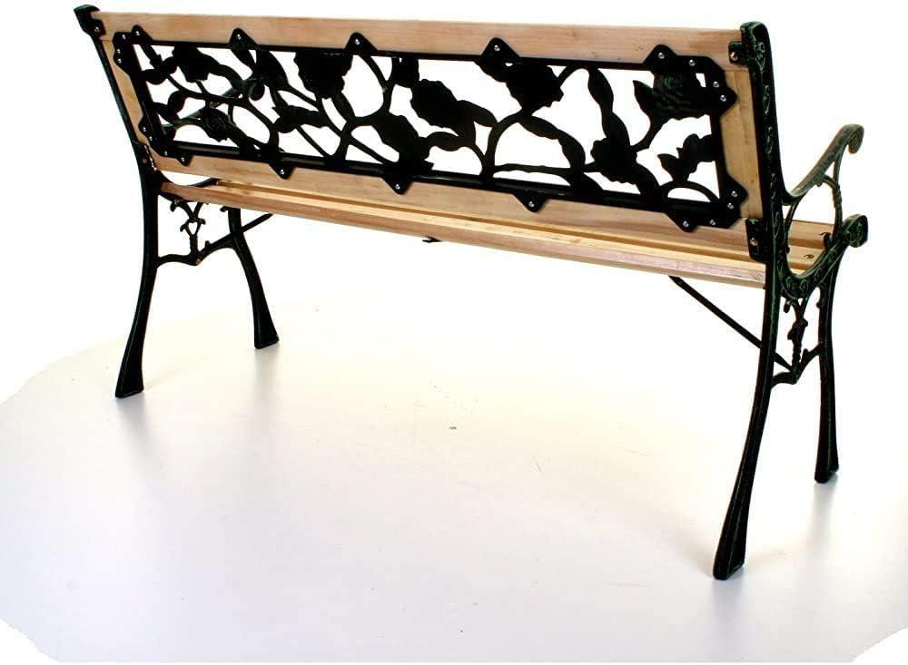 gambe in ghisa nera,Black Tre posti esterni in legno incrociati panchine giardino di rose