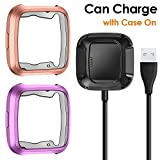 CAVN Compatible Fitbit Versa Case Charger [2 +1 Pack], TPU Bumper Protective Cover Protector + 3.3 FT Replacement Charging Cable (Can Charge Case On) Compatible Fitbit Versa Smartwatch Fitness