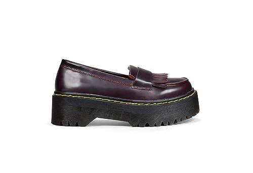 Bosanova Mocasines Mujer con Plataforma y Flecos en el Empeine/Zapatos Mocasines de Mujer con Puntadas Amarillas en Suela, Negro, Burdeos, ...