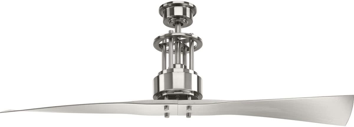 Progress Lighting P2570-09 Protruding Mount, 2 Silver Blades Ceiling fan, Brushed Nickel