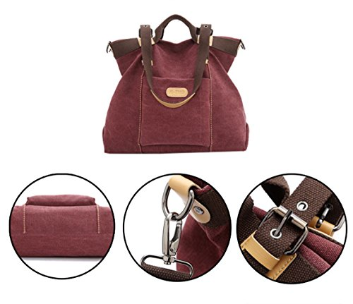 Crossbody Wine Handbags Tote bags Red Shopping Bags Canvas Shoulder Women Handle Vintage Casual WLE Hobo Top 4a1qAxw