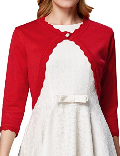 Christmas Open Front Shrug Trim Bolero Cardigan for Women Red,XXL AF1062-1