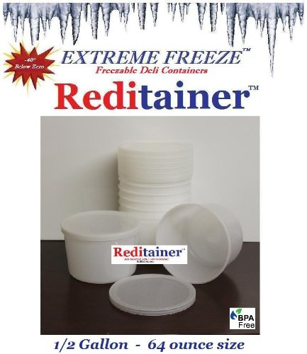 Extreme Freeze RTEF0864 Reditainer 64 oz. Freezeable Deli Food Containers w/ Lids - Package of 8 - Food Storage