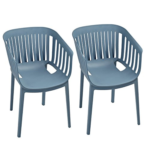 Adeco Blue Indoor Outdoor Patio Furniture Stackable Plastic Dining Armchair Set (Pack of 2 Chairs)