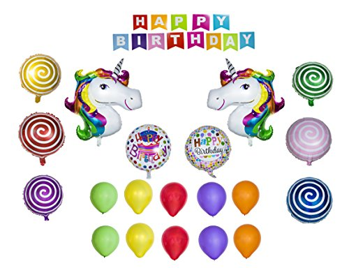 Unicorn Balloon Happy Birthday Banner Party Set of 20 Pack Mylar Foil Helium Reusable Latex Ballons Congratulation Decoration Anniversary Festival Graduation Bouquet Gift Idea Engagement Celebration