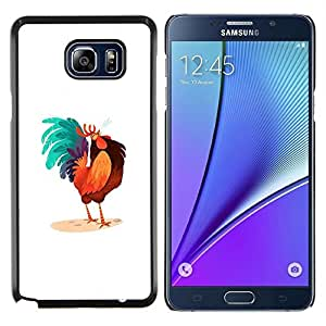 GIFT CHOICE / Teléfono Estuche protector Duro Cáscara Funda Cubierta Caso / Hard Case for Samsung Galaxy Note 5 5th N9200 // Rooster Colorful Art Blue Big Tail Drawing //