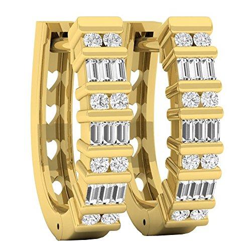 Dazzlingrock Collection 0.25 Carat (ctw) 10K Round & Baguette White Diamond Ladies Fashion Hoop Earrings 1/4 CT, Yellow Gold