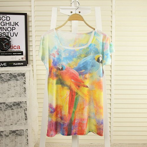 Estrendy Polychrome Lovebirds Painting Batwing Sleeve Loose T-shirt