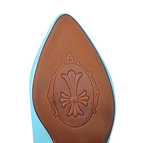 Amoonyfashion Chaussures À Bout Pointu Fermé Orteil Chaton-talons Pompes-chaussures Avec Bowknot Métal Bleu