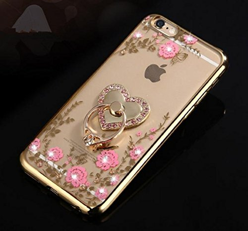 iPhone 7 Plus Floral Crystal TPU Case--Inspirationc Soft Slim Bling Plating Rubber Cover for iPhone 7 Plus 5.5 Inch with Rhinestone Diamond and Detachable 360 Ring Stand-Gold and Pink
