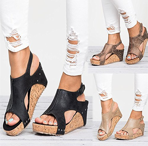 LIBERVIV Women Gladiator Sandals Platform Wedge Heels Velcro Strap Shoes B07DDF9GGT Plus Size EU 35-43 B07DDF9GGT Shoes 10.5 B(M) US|Brown c61923