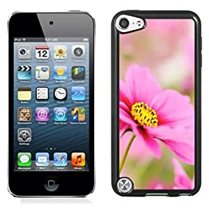 Fashionable Custom Designed iPod Touch 5 Phone Case With Pink Dahlia Macro Flower_Black Phone Case
