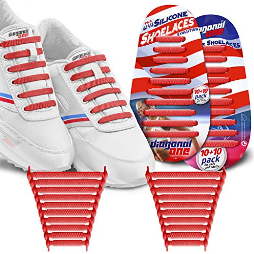 Diagonal One No Tie Shoelaces for Kids & Adults.The Elastic Silicone Shoe Laces to Replace Your Shoe Strings. 20 Slip On Tieless Flat Silicon Sneakers Laces (Red)