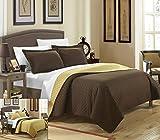 Chic Home 3 Piece Teresa Reversible Color Block Modern Quilt Set, King, Gold