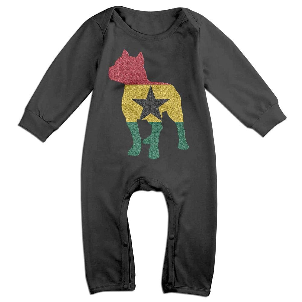 Mri-le1 Newborn Baby Long Sleeved Coveralls Patriotic Pitbull Ghana Flag Kid Pajamas