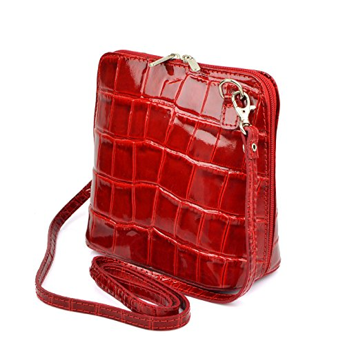 90df9514f89c8 Vera Pelle Handtaschen Italien Echt Leder Schultertasche Frauen Damen  Tasche Handtasche Ital Bag Rot Lack Crock ...