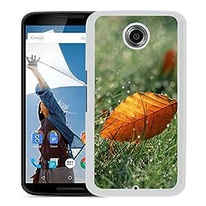 New Beautiful Custom Designed Cover Case For Google Nexus 6 With Macro Orange Leaf On Dew Grassland (2) Phone Case