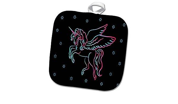 3dRose phl/_271116/_1 Pot Holder Image of Neon Watercolor Aqua and Fuchsia Unicorn n Stars 8 by 8