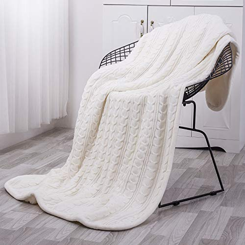 MoMA Premium Knit Sherpa Throw Blanket - 47x 70 Reversible Fleece - Blanket for Bed and Couch - Off White Sherpa Blankets - Cream Knitted Throw Blanket