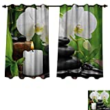 japanese hot stone massage - Anzhouqux Spa Bedroom Thermal Blackout Curtains Zen Hot Massage Stones with Orchid Candles and Magnificent Nature Remedies Drapes for Living Room Black White and Green W63 x L63 inch