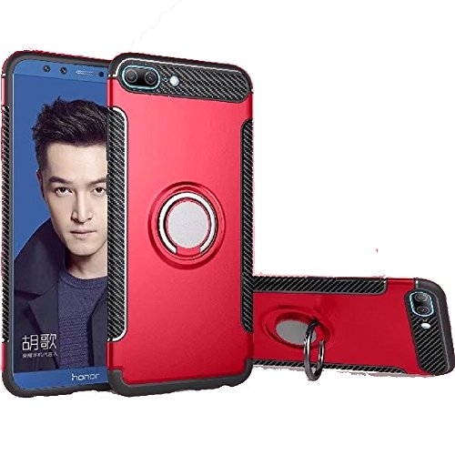 Huawei Honor 9 lite Case, Ranyi [2 Piece Ring Cover] [Adsorbed iron Plate] [360 Rotating Metal Ring] Premium Hybrid Dual Layer 360 Full Body Protective 2 In 1 Case for ()