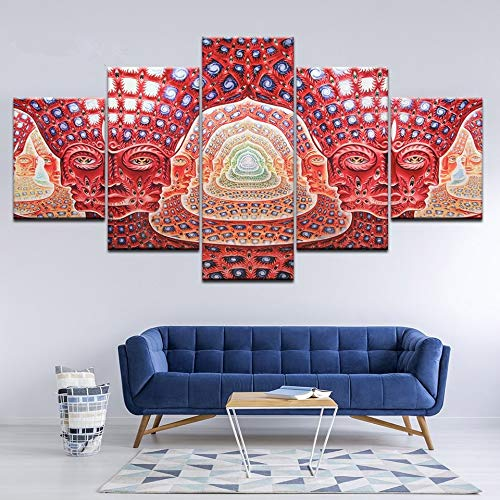 HENANFSLY Canvas Painting Wall Art Modular Hd Prints 5 Pieces Psychedelic Face Pictures Tool Alex Grey Metal Music Poster Home Decor Frame