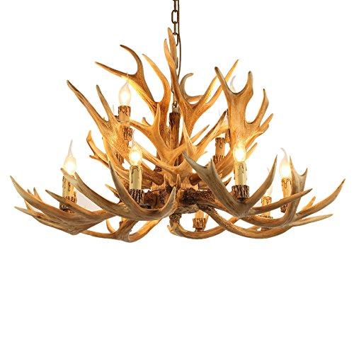 Lovedima Rustic Style Resin Antler Whitetail Branch 2-Tier 12 Candle Light Large Cascade Chandelier