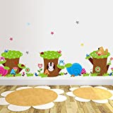 Animals Owls Birds Rabbit Mushrooms Ants Tree Stump Flowers Wall Decal PVC Home Sticker House Vinyl Paper Decoration WallPaper Living Room Bedroom Kitchen Art Picture DIY Murals Girls Boys kids Nursery Baby Playroom Decor