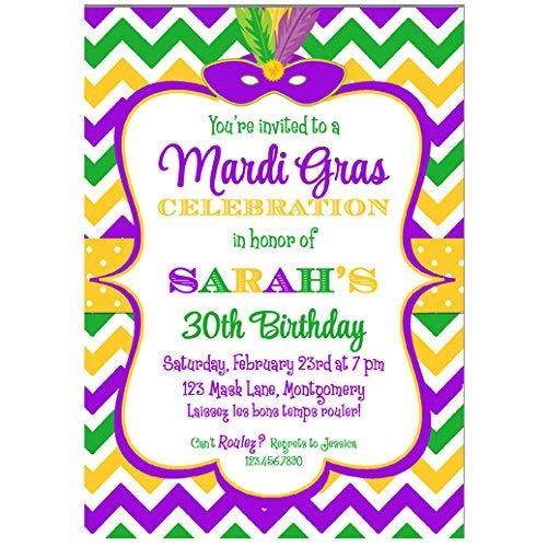 (Mardi Gras Chevron Invitation - Mardi Gras Soiree, Masquerade, Masked Ball, Carnival Fun)