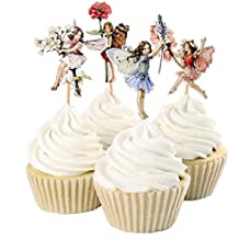 24pcs Pretty Fairy Cupcake Toppers for Cake Decorations Baby Girls Children Kids Toddlers Teens Birthday Supplies Bridal Shower Wedding Favors