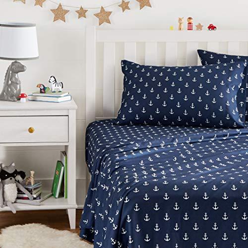 AmazonBasics Easy-Wash Microfiber Kid's Bedding Sheet Set - Twin, White Anchors