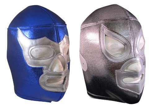 Santo and Blue Demon Adult Lucha Lubre Mask Party Pack (2) by Mask Maniac