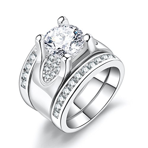 Solitaire Diamond Accent Wedding Rings - 5.56 Ct. Round Cubic Zirconia Promise Stacking Sets Size 6-9