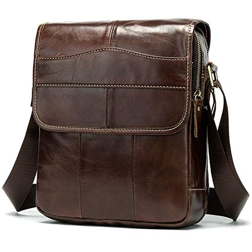 LCLiang Mens Vintage First Leather Flip Genuine Leather Satchel Bag Color : Oil Coffee