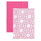 Yoga Sprout Muslin Swaddle Blankets, Pink Scroll/Teal Giraffe, 46 x 46 by Yoga Sprout