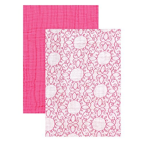 Yoga Sprout Muslin Swaddle Blankets, Pink Scroll/Teal Giraffe, 46 x 46 by Yoga Sprout by Yoga Sprout (Image #1)