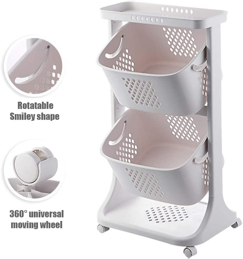 Rcircle DIY Laundry Storage Trolley Basket with Casters 2/3Tier Rolling Laundry Sorter Cart Hamper Utility Openwork Storage Stand Rack Organizer with 6 Side Hooks Kitchen Storage Shelves