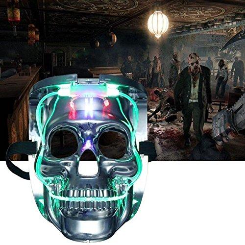 Winnerbe Light up Mask Scary Skull Rave Mask Halloween Cosplay Led Costume Mask Party Cool Mask for Festival -