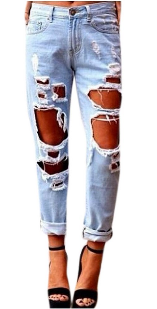 Tengfu Women's Sexy Distressed Destroyed Ripped Slim Blue Baggy Jeans Pants