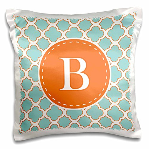 """3dRose Letter B Monogram Orange and Blue Quatrefoil Pattern-Pillow Case, 16 by 16"""" (pc_210603_1)"""
