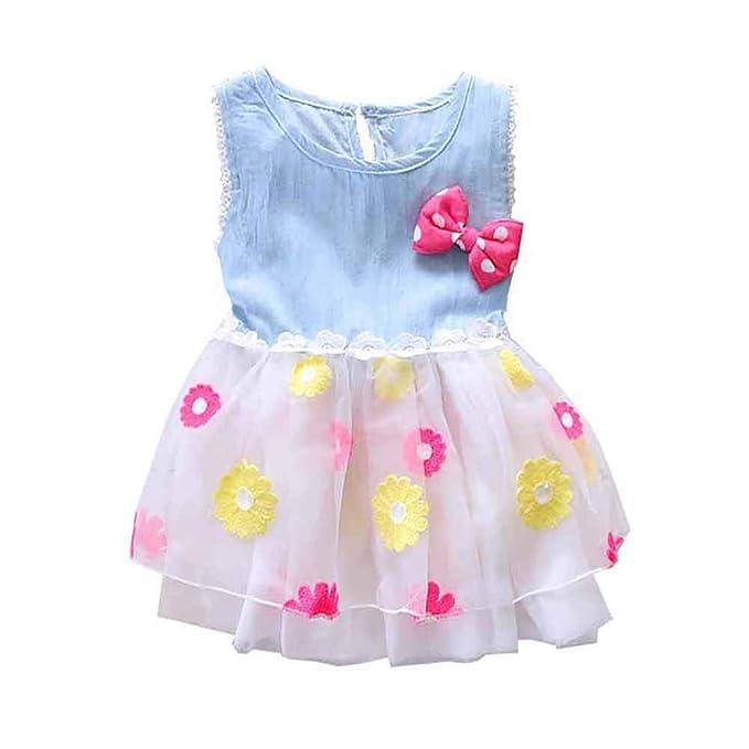 BOBORA Bambine Manica Corta Perline Fiore Ricamo Abiti Tulle  Amazon.it   Abbigliamento aabbd71608d